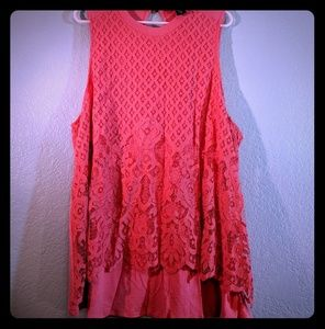 Torrid coral high neck lace inset tank top size 3x